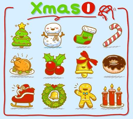 hand drawn Christmas icons Stock Vector - 9830307