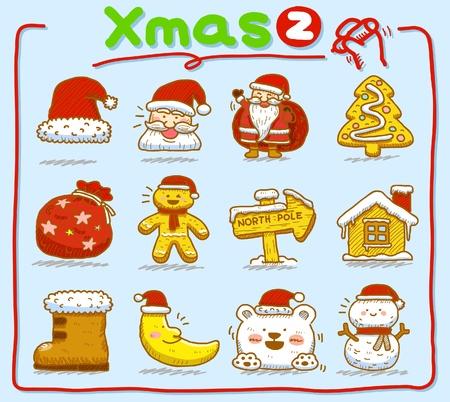 hand drawn Christmas icons  Vector