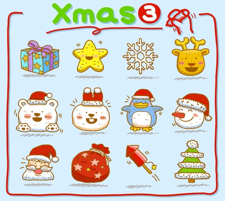 hand drawn Christmas icons Stock Vector - 9830304