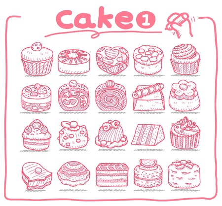 Hand drawn cake icons  Vector