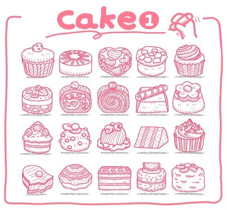 strawberry cake: Hand drawn cake icons  Illustration