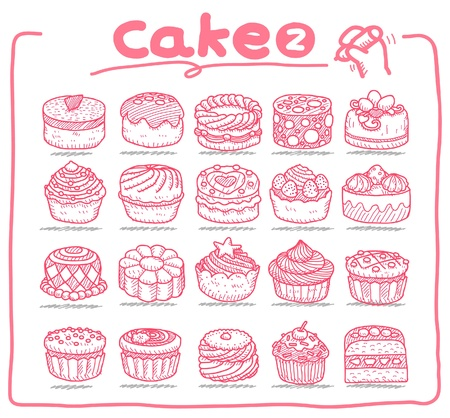 birthday cupcakes: Hand drawn cake icons  Illustration