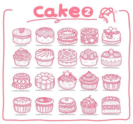 porcion de torta: Iconos de pastel dibujado a mano