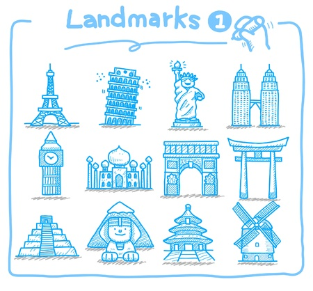 hand drawn landmark icons  Stock Vector - 9830303