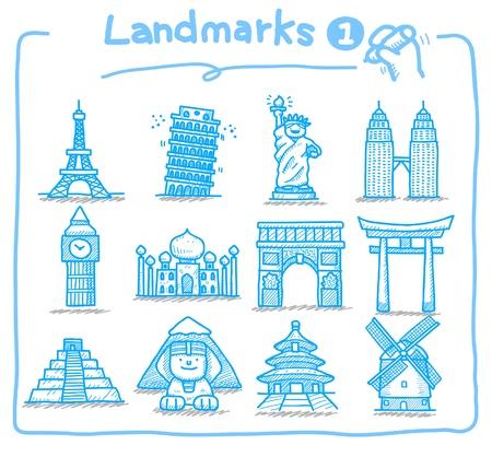 hand drawn landmark icons  Vector