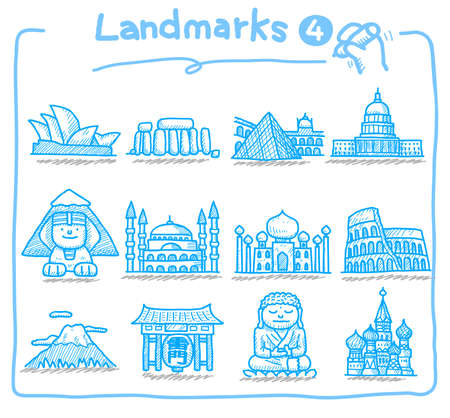 hand drawn landmark icons  Stock Vector - 9830306