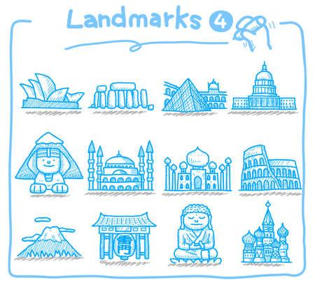 hand drawn landmark icons Stock Vector - 9830306