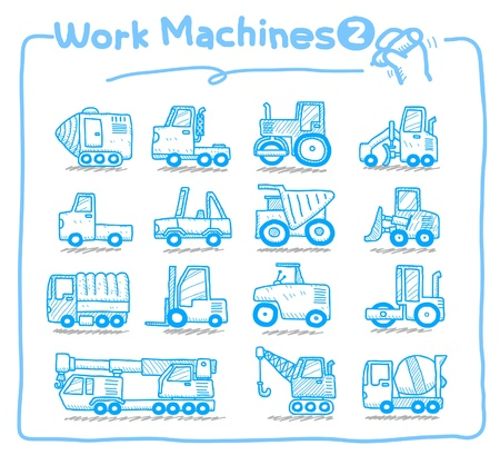 ilustration and painting: hand drawn Work Machine icons