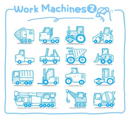 mode of transport: iconos de m�quina de trabajo dibujadas a mano