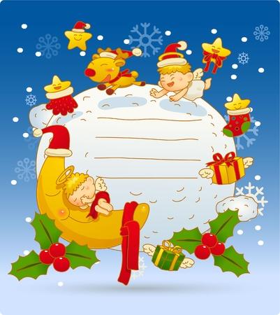 Ilustración vectorial, tarjeta de Navidad, tarjetas de felicitación  Foto de archivo - 9830356