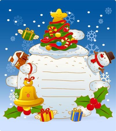 Ilustración vectorial, tarjeta de Navidad, tarjetas de felicitación  Foto de archivo - 9830349