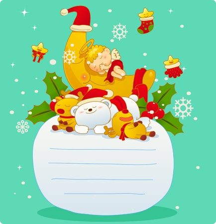 Vector illustration, Christmas card, Greeting card  Vector