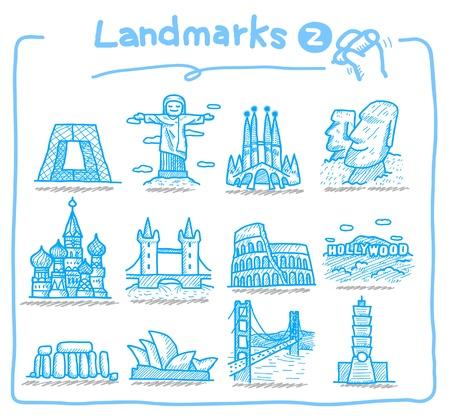 iconos de landmark dibujado a mano