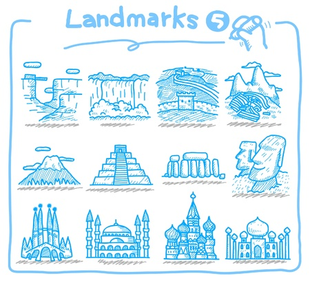 hand drawn landmark icons Vector