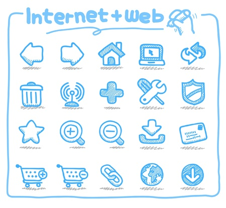 Hand drawn internet and web icons  向量圖像