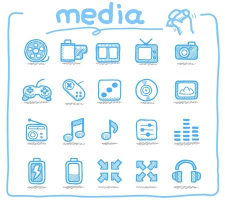 sound system: Dibujado a mano los medios de comunicaci�n iconos Vectores