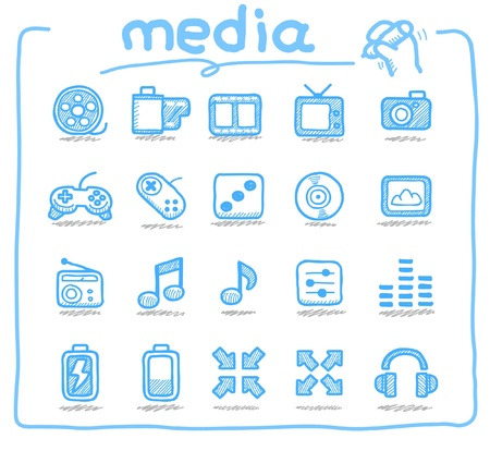 ntsc: Hand drawn media icons  Illustration