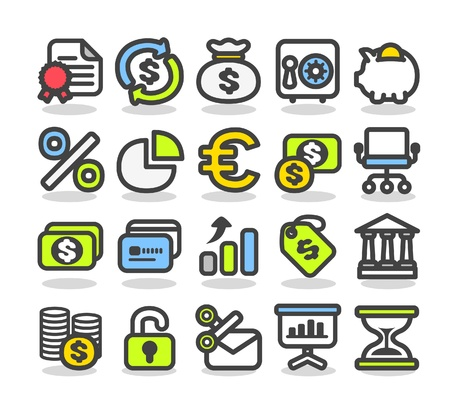 moneybag: Finance,bank,money,business and internet icon set  Illustration