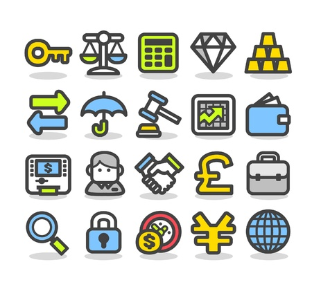 ilustration and painting: Finance,bank,money,business and internet icon set  Illustration