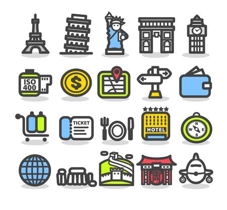 Viajes, edificaciones, viaje, conjunto de iconos de viajes de negocios  Foto de archivo - 10556168