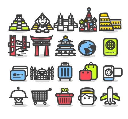 Travel,landmarks,trip,business travel icon set  Vector