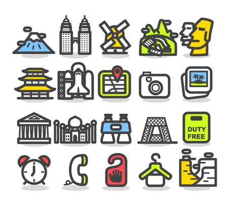 famous: 旅遊,地標,行,商務旅行的圖標集