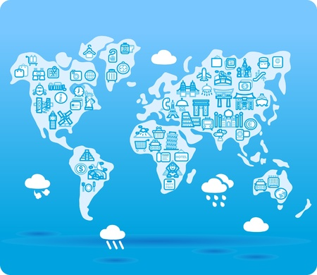 travel locations: world map symbol made from small travel,landmark icons Illustration