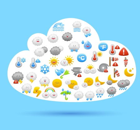 weather terms: Cloud symbol made from weather icons