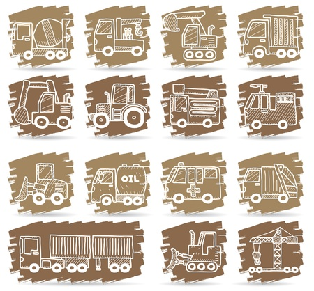 bulldozer: hand drawn car,truck,machine icons  Illustration