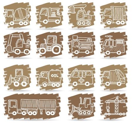 mano coche dibujada, camión, iconos de máquina