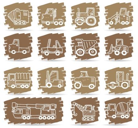 heavy machinery: hand drawn car,truck,machine icons  Illustration