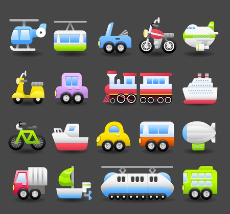 Cartoon auto, voertuig icon set  Stock Illustratie