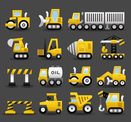 mining icons: cartoon car,vehicle,machine,transportation icon set