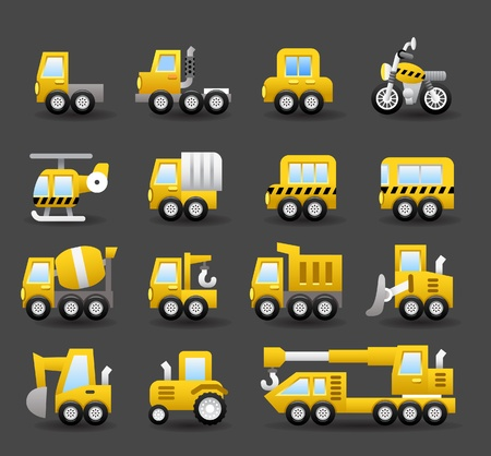 camion minero: coche de dibujos animados, vehículos, maquinaria, transporte conjunto de iconos