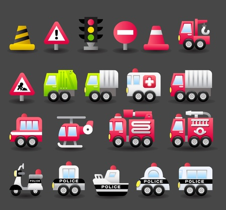 cartoon auto, voertuig, vervoer, nood-icon set