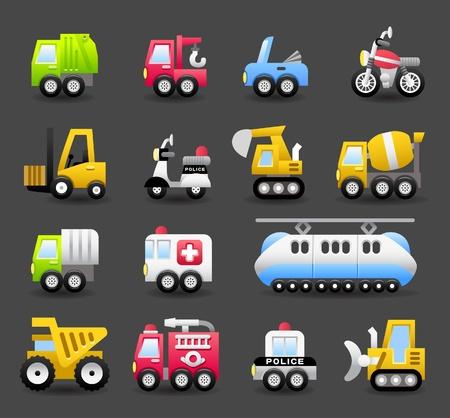 cartoon auto, voertuig, machine, vervoer icon set