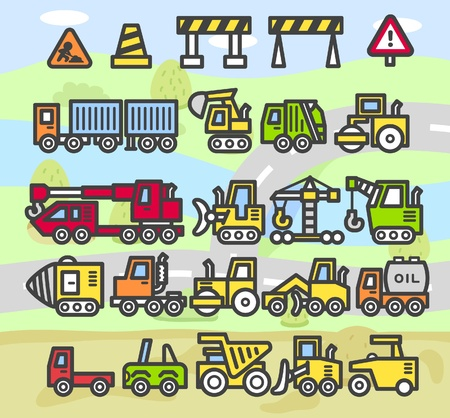 quarry: cartoon car,vehicle,machine,transportation icon set