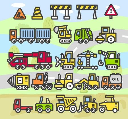 mining equipment: cartoon car,vehicle,machine,transportation icon set