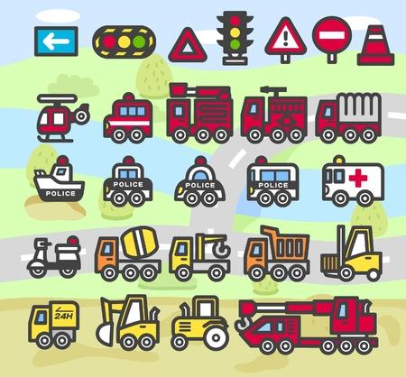 cartoon auto, voertuig, vervoer nood-icon set Vector Illustratie