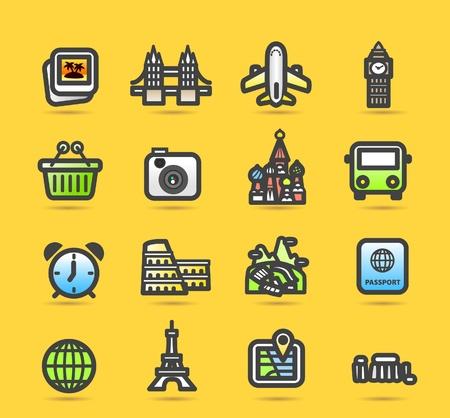 Travel,landmarks,trip,business travel icon set Stock Vector - 10556175