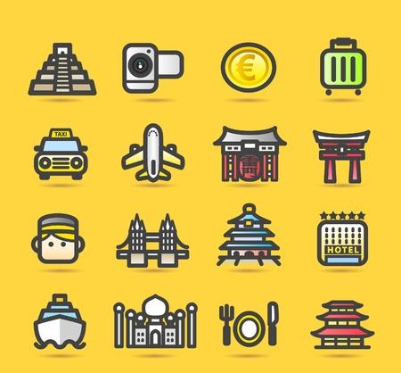 piramide alimenticia: Viajes, edificaciones, viaje, conjunto de iconos de viajes de negocios