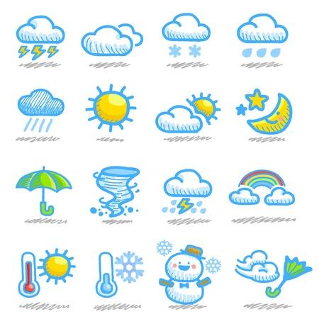 meteo: disegnati a mano meteorologiche set di icone Vettoriali