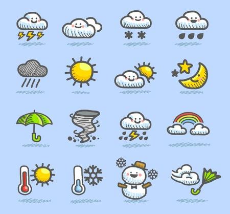 disegnati a mano meteorologiche set di icone