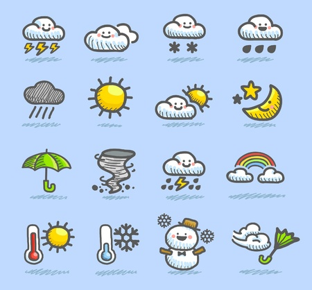 snow storm: hand drawn weather icon set Illustration