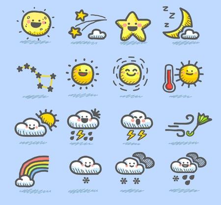 手描きの天気アイコンを設定  イラスト・ベクター素材