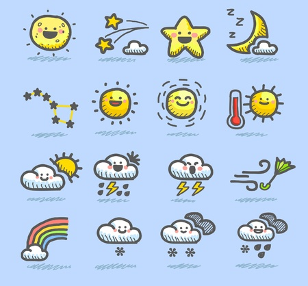 cloudy night sky: hand drawn weather icon set Illustration