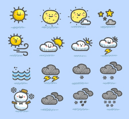 ilustration and painting: hand drawn weather icon set Illustration