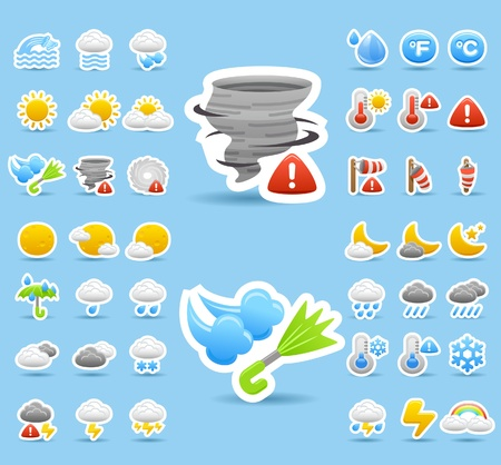 torrential rain: weather icon set Illustration