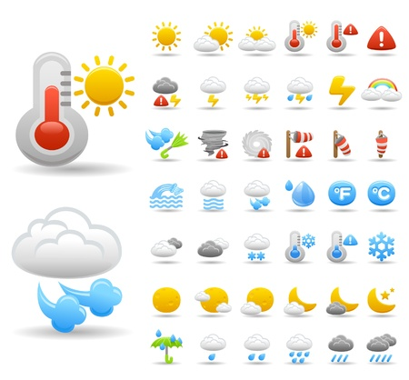 temperature: weather icon set Illustration