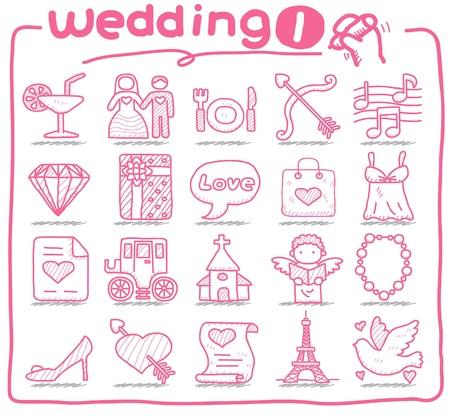 iconos de boda dibujado a mano  Ilustración de vector